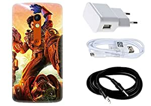 Spygen MOTOROLA Moto X Play Case Combo of Premium Quality Designer Printed 3D Lightweight Slim Matte Finish Hard Case Back Cover + Charger Adapter + High Speed Data Cable + Premium Quality Aux