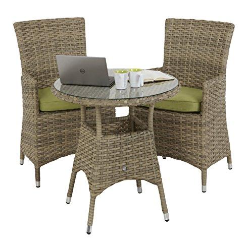 Maze Rattan Natur Mailand 2Sitz rund Bistro Set mit einer 75cm Tisch und La Stil Stuhl mit Kissen beige