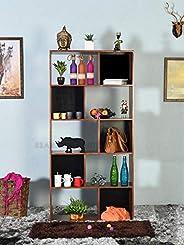 Woodlab Furniture Sheesham Wood Book Shelf and Storage Unit for Home (Teak Finish)