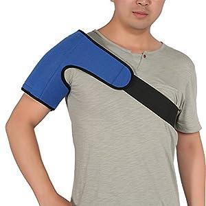 Schulterklammer für Männer und Frauen mit heißem Pack – Unterstützung der Rotatorenmanschettenpackung, Sehnenentzündung, Luxation, Bursitis, Schulterkompressionshülse aus Neopren, blau