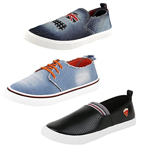 Chevit Men's Combo Pack of 3 Outdoor Premium Casual Shneakers Shoes (Loafers and Mocassins)