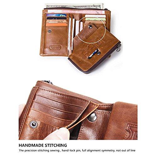 f84ef574ed Modesty-Portafoglio uomo vera pelle di vacchetta con carta di credito  titolare Zip borsa regalo inscatolato (marrone)-QB011-BR. Visualizza le  immagini