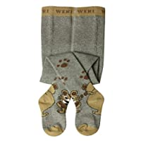 Weri Spezials Baby and Children Tights, Funny Lions in Grey, Size: 3-4 years