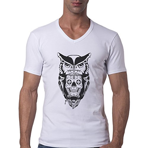 Owl Bird Night Midnighter Black Logo Big Herren V-Neck T-Shirt Weiß