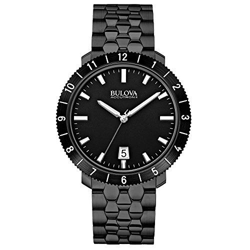 Bulova - 98B218 - Moonview - Montre Mixte - Quartz Analogique - Cadran Noir - Bracelet Acier plaqué Noir