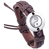 pulsera - SODIAL(R)Tai Chi Yin y Yang grafico PU cuero pulsera tejida profundo marron