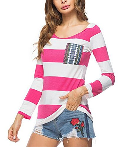 BESTHOO Donna Maglietta Manica Lunga Girocollo Slim Fit Casuale Camicetta Righe Casual T-Shirt Tops Elastico Red