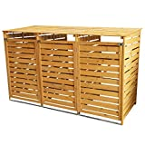Triple Wooden Wheelie Bin Store Outdoor Garden Lockable Latched Dustbin Cover Storage Wood Timber Shed Unit Hinged Lid