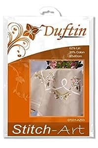 Duftin 07031-AZ03 Mary Ann Surnappe à Broder au Point Varié Lin/Coton Motif Petit Bouquet Enrubanné 80 x 80 cm