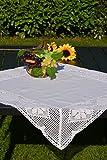Tischdecke Hochwertige Häkeldecke Mitteldecke Häkelkante Klöppelspitze Landhaus Spitze Baumwolle 85/85 cm Weiß