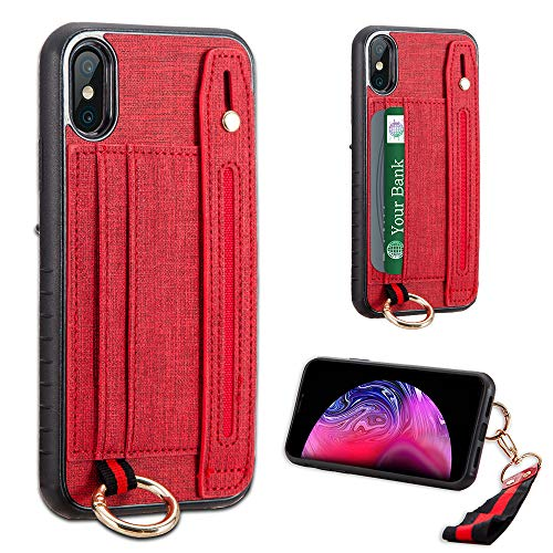LUXCA Schutzhülle für Apple iPhone XR, Leder, mit Reißverschluss, Geldbörse, Handtasche und Handschlaufe, rot - Handys Unlocked Att