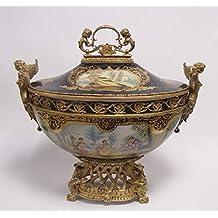 Porcelana de sopera con tapa y oro redondeado Socket de aplicaciones en bronce