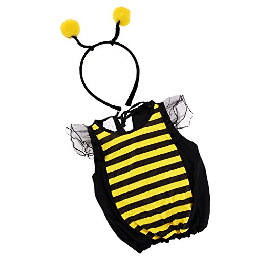 MagiDeal Kinder Biene Kostüm Bienen mit Haarband 2 tlg für Karneval, Fasching und Kostümparty - S (Bumble Bee Outfit Für Baby)