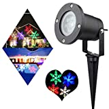 Updated Garden Projector Lights Outdoor RGBW 12W Christmas Motion Snowflake Landscape Projector Holiday Decoration Waterproof LED Stage Lights for Home Garden(RGBW)