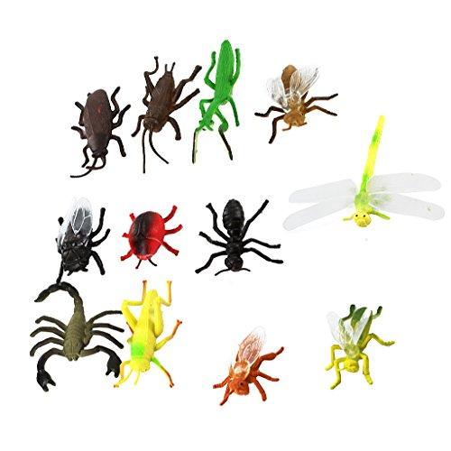 Gazechimp Kunststoff Pvc Insekt Tiermodell für Kinder Spielzeug 12pcs Mehrfarben
