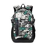 Maod Leinwand schulrucksack Jungen schultasche mädchen Daypack Damen rucksack schule wasserdicht Laptop Backpack 15 (Grün)