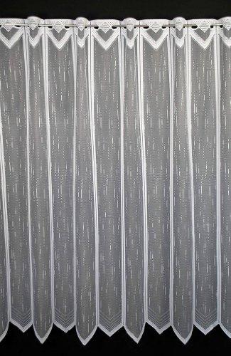Scheibengardine längs gestrichelt 120 cm hoch | Breite der Gardine durch gekaufte Menge in 23,5 cm Schritten wählbar (Anfertigung nach Maß) | Weiß | Vorhang Küche Wohnzimmer