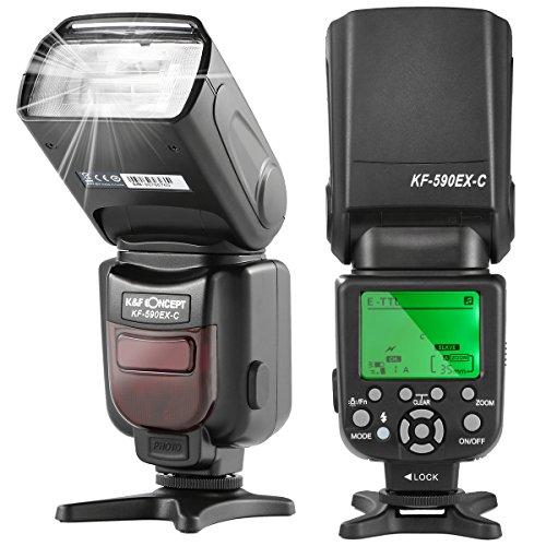 K&F Concept® E-TTL KF590C Blitz Blitzlicht Canon Speedlite Blitzgerät für Canon Kamera Leitzahl 56 mit Wireless Slave Funktion
