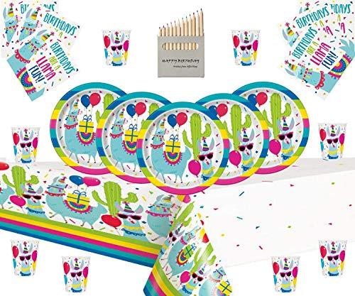 Lama-Party liefert Kinder Lama Geburtstag Deluxe Einweg-Geschirr-Kit für 16 Personen - Lama Serviette Teller Tasse Tisch Decken