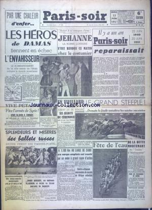 PARIS SOIR [No 356] du 22/06/1941