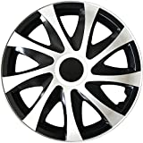 (Farbe und Größe wählbar) 14 Zoll Radkappen DRACO (Schwarz-Weiß) passend für fast alle Fahrzeugtypen (universal)
