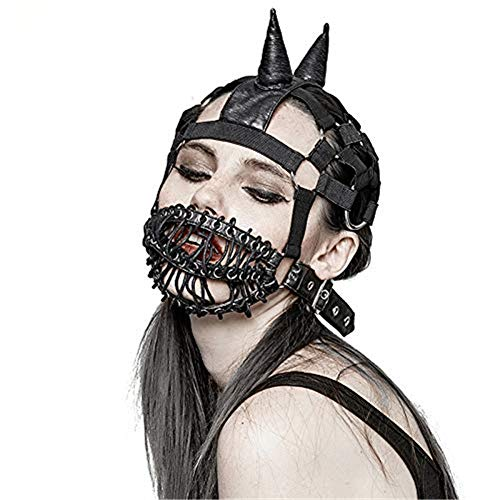 Gothic Maske Steampunk Krawatte Seil Maske Weiches Leder Persönlichkeit Requisiten Party Cosplay Dekoration Halloween Kostüm Maskerade - Toxic Maske Kostüm