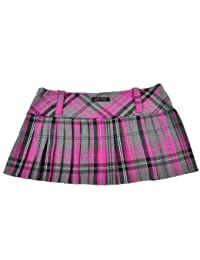 Tartan Mini Skirt 12in length (30.5cm) by Crazy Chick (14, PINK GREY)