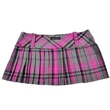 Mini falda de cuadros escoceses 12in (30,5 cm) Longitud de la by diseño en relieve de pollo Crazy (14, de color rosa gris)
