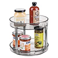 mDesign Lazy Susan Spice Rack - 2-Tier Kitchen Storage Unit with Rotatable Shelving Made of Plastic - Perfect for Use as Condiment Holder, Spice Rack and More - Smoke Grey