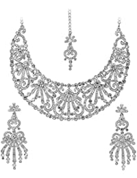 Touchstone Pretty Silver Necklace Set With Maang Tika For Women