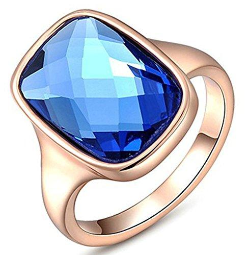 Gnzoe Gioielli, Placcato argento Austriaco Cristallo Luxury Blu Diamante Fidanzamento Anello di Nozze Donna