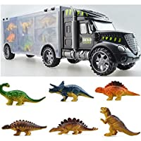 yeesn Dinosaur Transport Carrier Truck Toy With 6 Mini Plastic Dinosaurs Xmas Birthday Gifts for Boys Girls