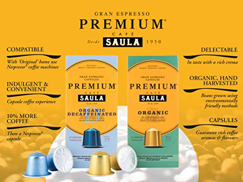 Premium Organic Gran Espresso   60 Aluminium Nespresso® Compatible Coffee Capsules from Award Winning Café Saula   6 x Packs of 10