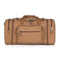 Plambag Mens Canvas Holdall Duffel Bag Large Travel Weekend Shoulder Handbag 50L Coffee