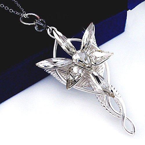 """Splendeur d'art - Collana lunga con ciondolo Stella del vespro di Arwen da """"Il Signore degli Anelli, placcata argento"""
