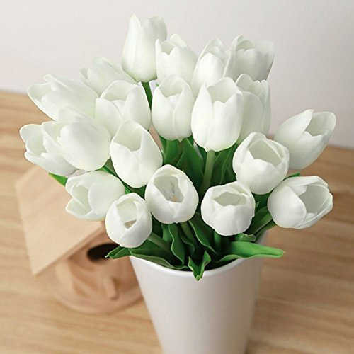 Kingtoys® 10pcs pu mini tulip fiore artificiale real touch latex tulipano per la cerimonia nuziale per la decorazione domestica (bianco)