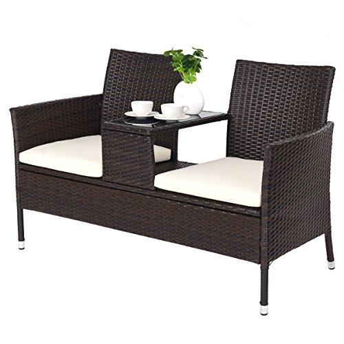 CASART Rattan Loveseat Chair Double Seater Bench Middle Glass-topped Tea Table & 2 Comfortable Cushion Seat Furniture Set for Garden Patio Indoor Outdoor