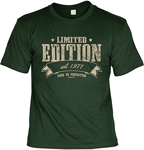 Cooles T-Shirt zum 40. Geburtstag Limited Edition seit 1977 aged to perfection Geschenk 40 Geburtstag 40 Jahre Geburtstagsgeschenk 40-jähriger Dunkelgrün