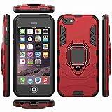 Sangrl Custodia per Apple iPhone 5 / 5S / 5C, [2 in 1] Hybrid Dual Layer Armor Cover Robusta Guscio di Protezione Anti-Scivolo Antiurto Magnetic Car Bracket Design della Staffa - Rosso