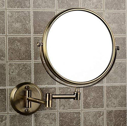 UHK Lysqva Badezimmer Supplies WC-Bad 8 'Doppelseite Badezimmer Folding Messing Shave Makeup Spiegel Antik Bronze Wandmontage Erweitern mit Dual Arm Vergrößern - Bronze 8 Arm