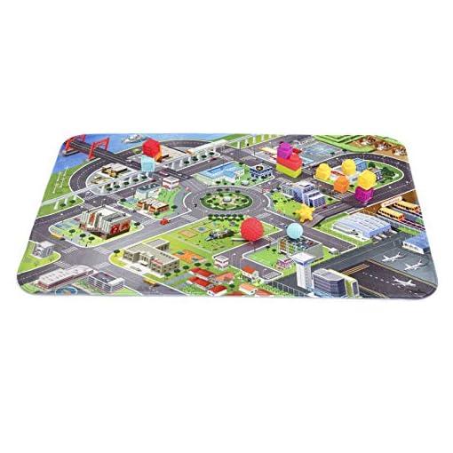 Spielteppich-Flufhafen-extraweich-150x100cm-Kinderteppich-Spielmatte-ab-6Monaten-waschbar-Kinder-Krabbelmatte-Flughafenteppich-Flughafenverkehr-Fantasie-Entwicklung-Kleinkinder-pflegeleicht-Antirutsch
