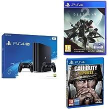 Pack PS4 Pro Noire  + 2ème manette + Call of Duty : World War II + Destiny 2 + Qui Es-tu? (Digital)