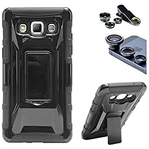 DMG Tough Polycarbonate Hard Back Defender Cover Case with Stand for Samsung Galaxy A5 (Black) + 3in1 Fisheye Wide Angle and Macro Lens