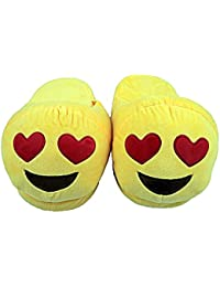 The Crazy Me Women's Fur Emoji Heart Eyes House Indoor Slippers (Yellow, Free Size Up-to 28cm)