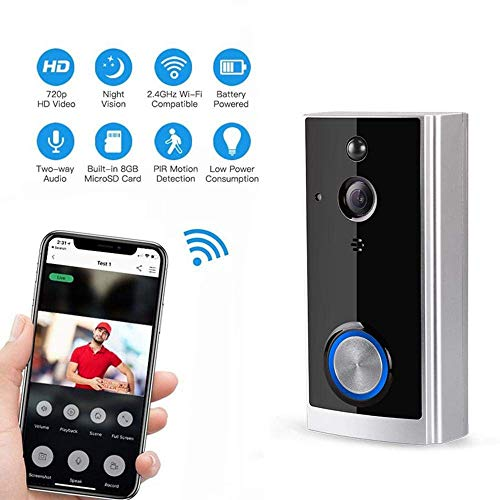 Eulan Real WiFi Video Doorbell Smart Doorbell Security Camera Real-Time Two-Way Talk Video, Night Vision, PIR Motion Detection and App Control for iOS and Android (Silver) (3-way Wire Light Switch)