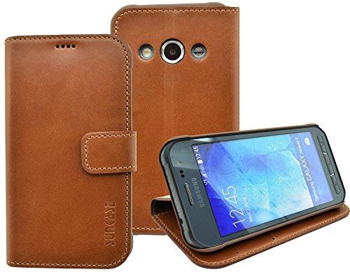 Samsung Galaxy Xcover 3 (SM-G388F) - Suncase Book-Style (Slim-Fit) Ledertasche Leder Tasche Handytasche Schutzhülle Case Hülle (mit Standfunktion und Kartenfach) cognac