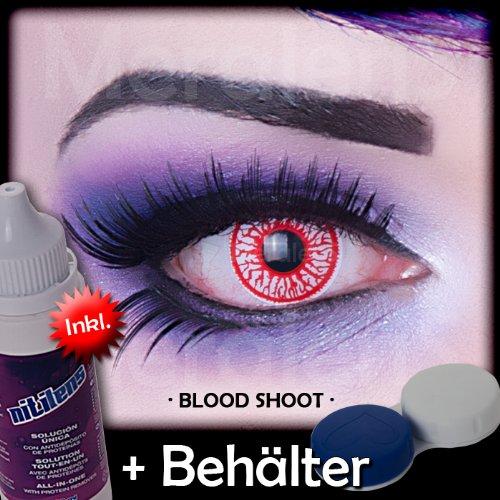 Farbige rote blutige Crazy Fun Kontaktlinsen crazy contact lenses Blood Shot Blut 1 Paar.Mit gratis Linsenbehälter + 60ml Pflegemittel