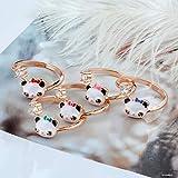 Hapyshop Anillo de panda chino de moda hombre y animal dedo anillo de adorno con diamante joyas, apertura ajustable, lazo con diamante azul