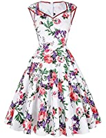 GRACE KARIN® Damen Rockabilly Kleid Vintage Sommerkleid GD007600
