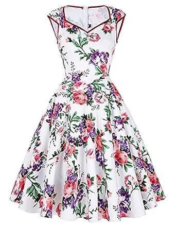 50s vintage rockabilly kleid blumenkleid damen festliches kleid partykleider cocktailkleider Größe S CL007600-1